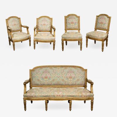 Exceptional French Louis XVI Style Five Piece Gilt wood Salon Suite Set