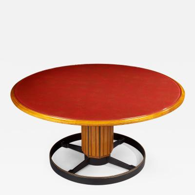 Exceptional Italian Fruitwood and Glass Pedestal Table 1950s