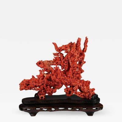 Exceptional Large Chinese Carved Coral Figural Group of a Pine Tree Scholars