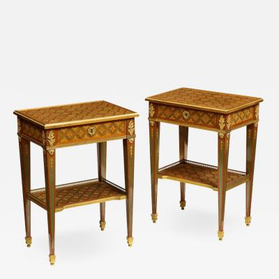 Exceptional Pair of French Ormolu Mounted Parquetry and Marquetry Side Tables