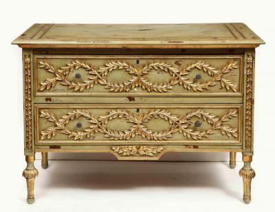 Exceptional Pair of French Provincial Green Painted and Parcel Gilt Commodes