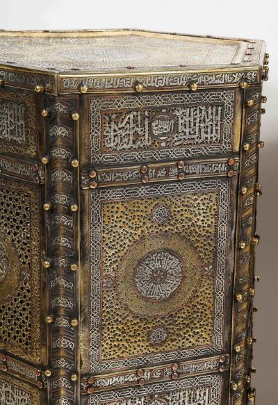 Exceptional Pair of Islamic Mamluk Revival Silver Inlaid Quran Side Tables