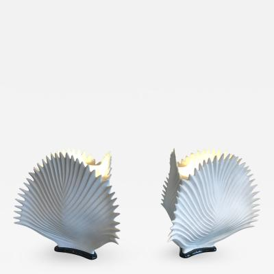 Exceptional Pair of Italian Bisque Porcelain Lamps on Black Bases