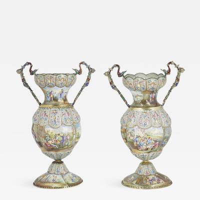 Exceptional Pair of Large Silver Mounted Viennese Enamel Vases by Rudolf Linke