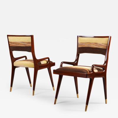 Exceptional Pair of Mahogany Armchairs Italy 1950s