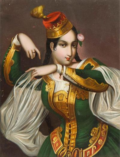 Exceptional Quality Miniature Painting of an Orientalist Turkish Dancer 1860