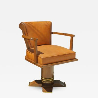 Exceptional and Rare Oak and Brass Swivel Desk Chair 1930