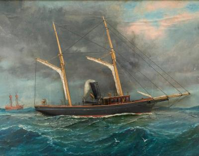 Exceptional diorama of steam sail vessel with finely rendered painted background