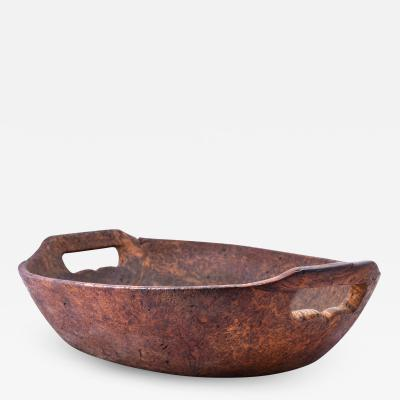 Exceptional late 18th early 19th C American ash burl oval bowl