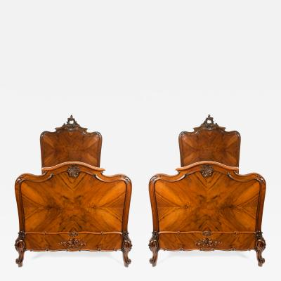 Exceptionally Hand Carved Matching Pair Single Bed