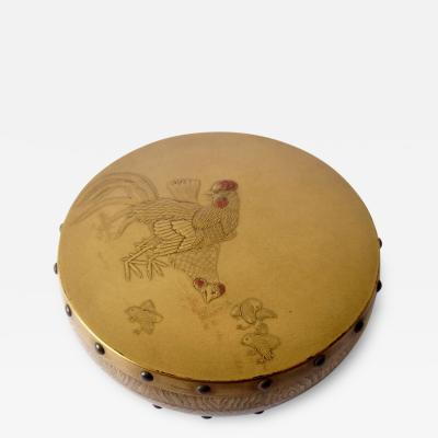 Exquisite 18th C Japanese Lacq Incense Box with Rooster and Chickens