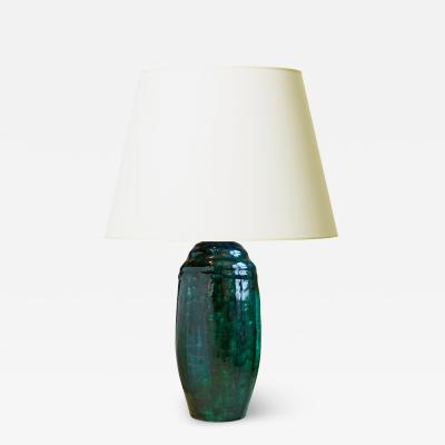 Exquisite French Art Deco Table Lamp with Flowing Teal Glaze