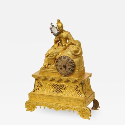 Exquisite French Charles X Ormolu Jeweled Chinoiserie Figural Table Clock