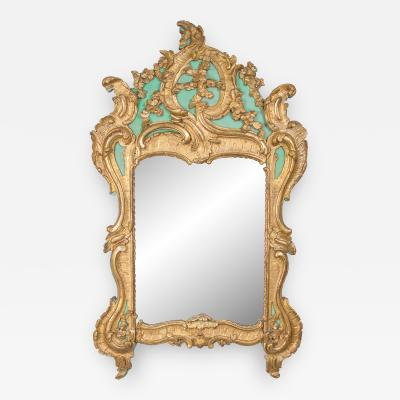 Exquisite French Louis XV Green Painted and Parcel Gilt Mirror