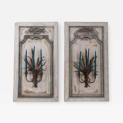 Exquisite Pair of French 18th Century Louis XV Painted Oak Boiserie Panels
