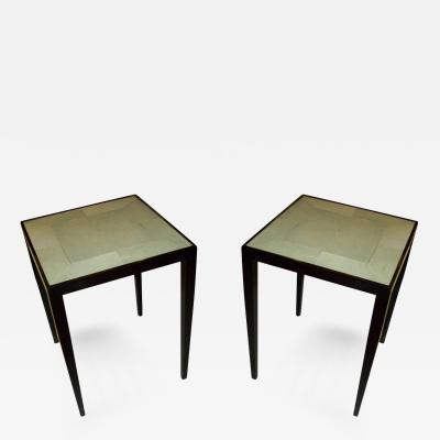 Exquisite Pair of Handcrafted Shagreen End Tables