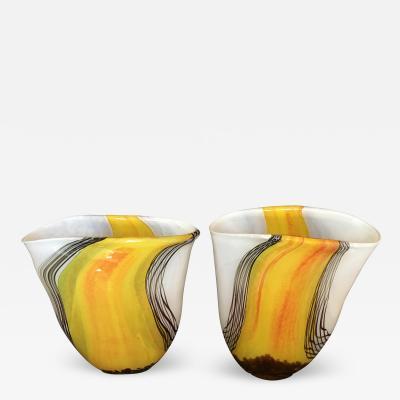 Exquisite Pair of Murano Glass Vases