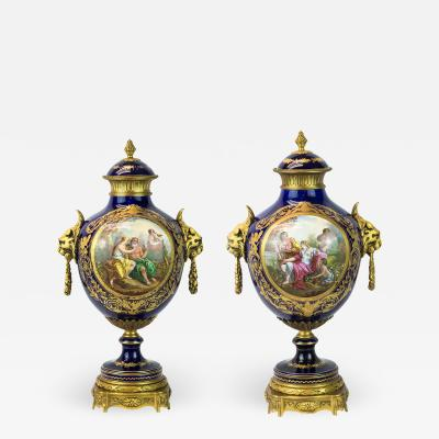 Exquisite Pair of Ormolu Mounted S vres style Porcelain vase