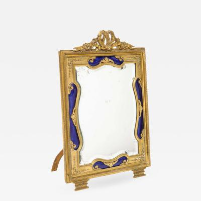 Exquisite Quality French Ormolu and Blue Guilloche Enamel Mirror Frame