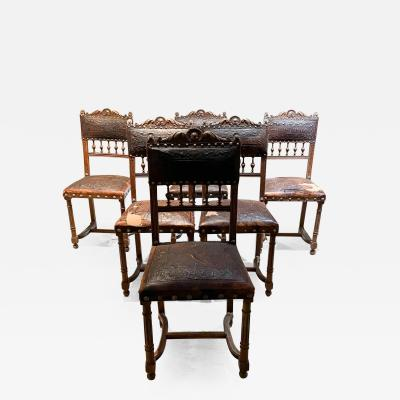 Exquisitely Carved French Oak Embossed Leather Lion Dining Chairs 1880s Henry II