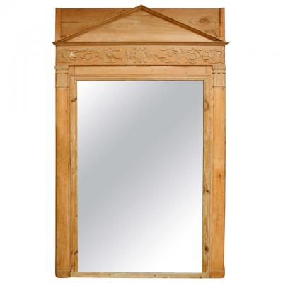 Exquisitely Carved Pine Frame Empire Mirror with a Neoclassical Pediment
