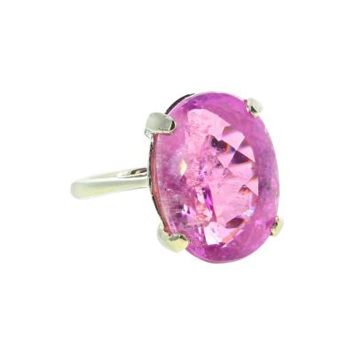 Extraordinarily Rare 14 16Ct Pinky Purple Sparkling Kunzite Silver Ring