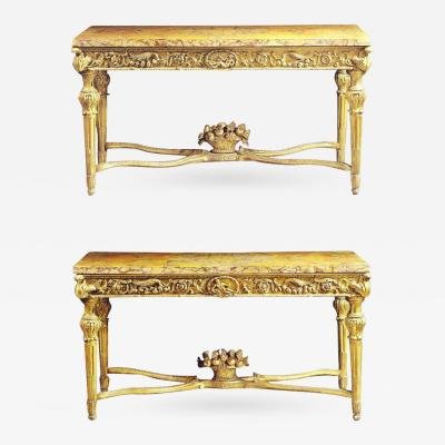 Extraordinary Pair of Italian 18th Century Carved Giltwood Console Tables
