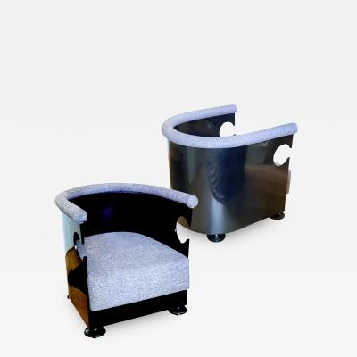 Extraordinary Pair of Lacquered Finnish Art Deco Club Chairs