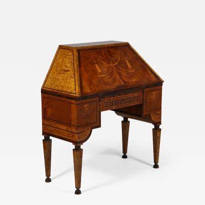 Extraordinary Swedish Grace slant front desk with elaborate inlays