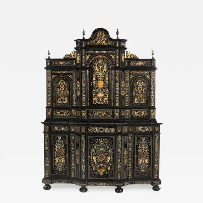 Extremely Fine Italian Baroque Ebonized Wood Faux Ivory and Hardstone Cabinet