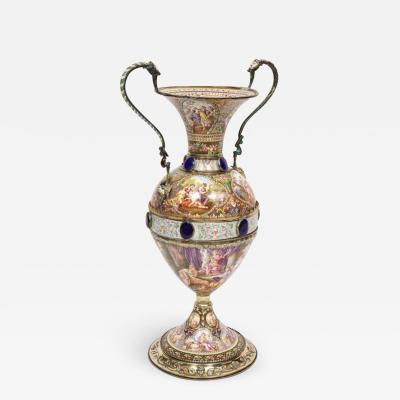 Extremely Large Austrian Silver and Viennese Enamel Twin Handled Vase 1880
