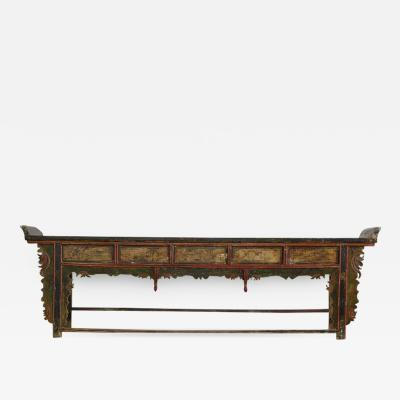 Extremely Long Antique Hand Carved and Painted Chinese Altar Table