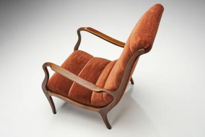 Ezio Longhi Ezio Longhi Ribbed Back Lounge Chairs for ELAM Italy 1960s