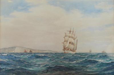 F J Aldridge British water color gild frame on paper maritime painting