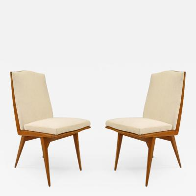 F Lietti Pair of Italian 1940 Blond Mahogany Side Chairs