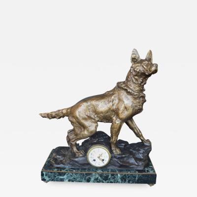 F Pelissier F Plelissier French Bronze Shepherd Dog Statue Clock