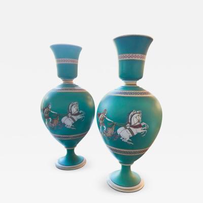 F R Pratt Pair of Signed F R Pratt Earthenware Grecian Roman Themed Greek Key Vases