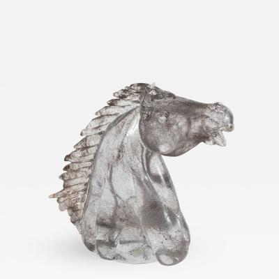 F Raport Satin Frosted Murano Horse Head Sculpture