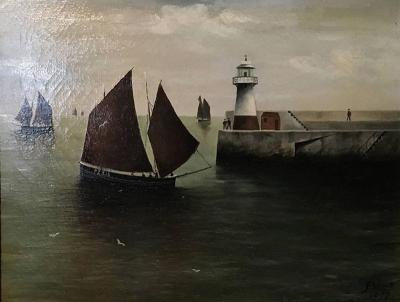 F Wood Painting Signed and Dated 1907