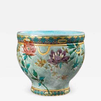 F lix Optat Milet F lix Optat Milet 47 5000 splendid cache pot with floral decoration S vres 1880