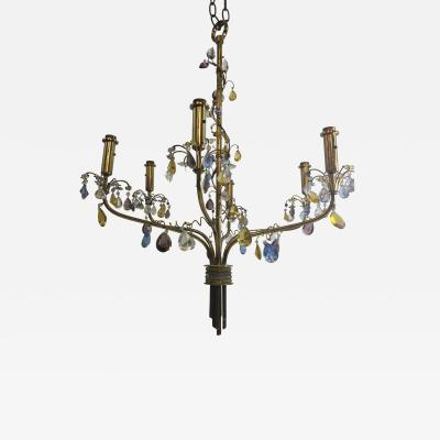 FANCY AUSTRIAN CRYSTAL BEAD AND DROP BRASS CHANDELIER