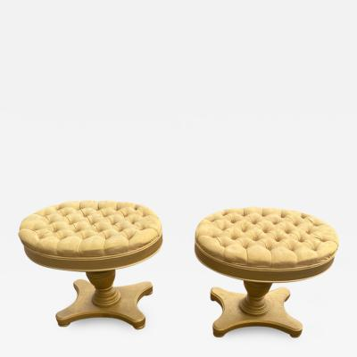 FANCY PAIR OF HOLLYWOOD REGENCY BUTTON TUFTED STOOLS