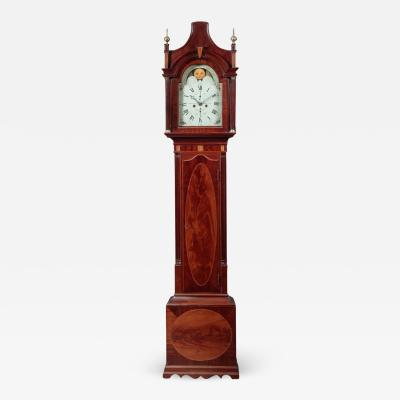 FEDERAL INLAID TALL CASE CLOCK Signed Hawxhurst and DeMilt