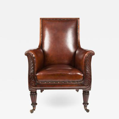 FINE 19TH C MAHOGANY ARMCHAIR OF NEO CLASSICAL DESIGN WITH LEATHER UPHOLSTERY