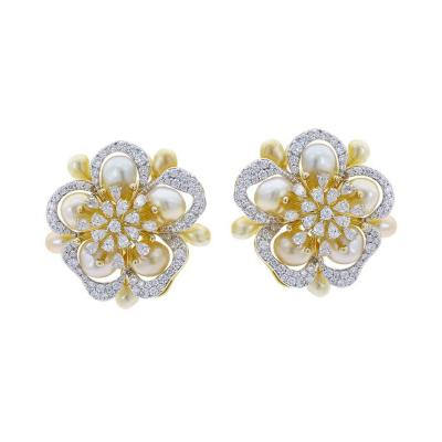 FINE FLORAL PEARL AND DIAMOND EARRINGS 18K YELLOW GOLD