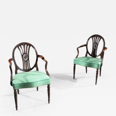 FINE PAIR OF NEO CLASSICAL GEORGE III ARMCHAIRS AFTER ROBERT ADAM