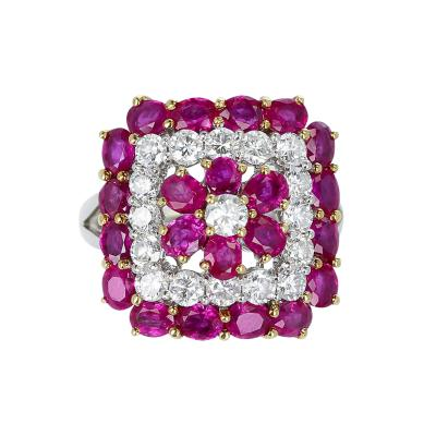 FLORAL DESIGN ROUND 4 19 CT RUBY AND 1 50 CT DIAMOND RING PLATINUM 18K GOLD