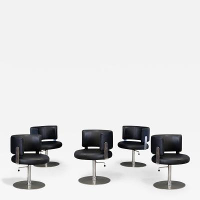FORMANOVA Milano Set of five MidCentury chair by Formanova in in leather black and steel 1970s