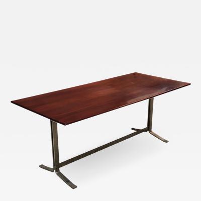 FORMANOVA Milano Wood top and steel base desk table by Formanova 1970s