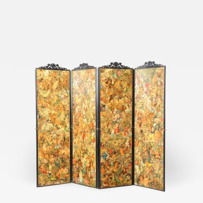 FOUR FOLD SCREEN WITH DECOUPAGE DECORATION